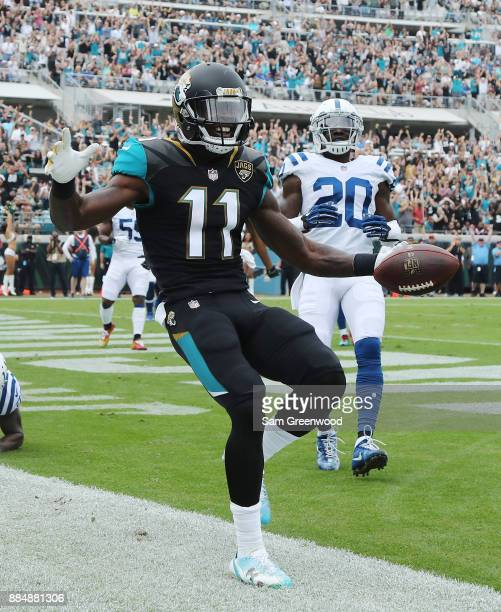 Marqise Lee of the Jacksonville Jaguars celebrates after a 4yard touchdown in the first half of their game against the Indianapolis Colts at EverBank...