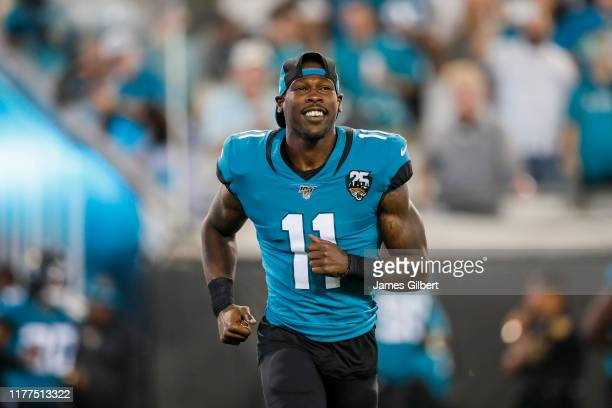 Marqise Lee of the Jacksonville Jaguars enters the field before the start of a game against the Tennessee Titans at TIAA Bank Field on September 19,...
