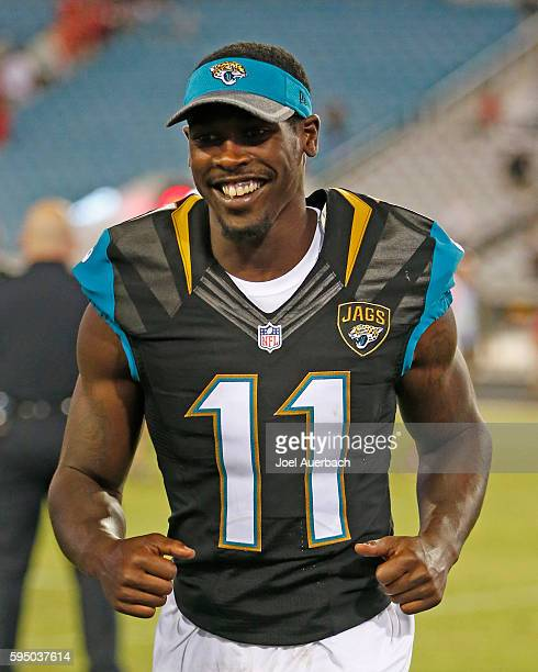 Marqise Lee of the Jacksonville Jaguars leaves the field after the preseason game against the Tampa Bay Buccaneers on August 20, 2016 at EverBank...