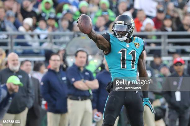 Marqise Lee of the Jacksonville Jaguars reacts to a play during the first half of their game against the Seattle Seahawks at EverBank Field on...