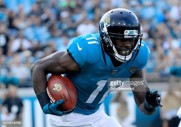 Marqise Lee of the Jacksonville Jaguars runs for yardage during a preseason game at TIAA Bank Field on August 25, 2018 in Jacksonville, Florida.