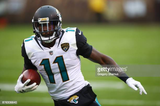Marqise Lee of the Jacksonville Jaguars runs the ball in the first half against the Cleveland Browns at FirstEnergy Stadium on November 19, 2017 in...