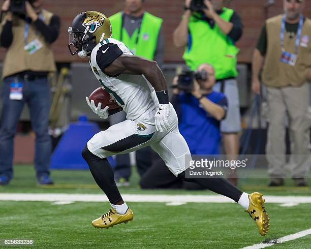 Marqise Lee of the Jacksonville Jaguars runs upfield with the football during an NFL game against the Detroit Lions at Ford Field on November 20,...