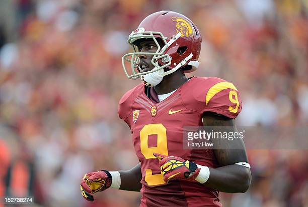 Marqise Lee of the USC Trojans comes in motion during the game against the California Golden Bears at Los Angeles Memorial Coliseum on September 22,...