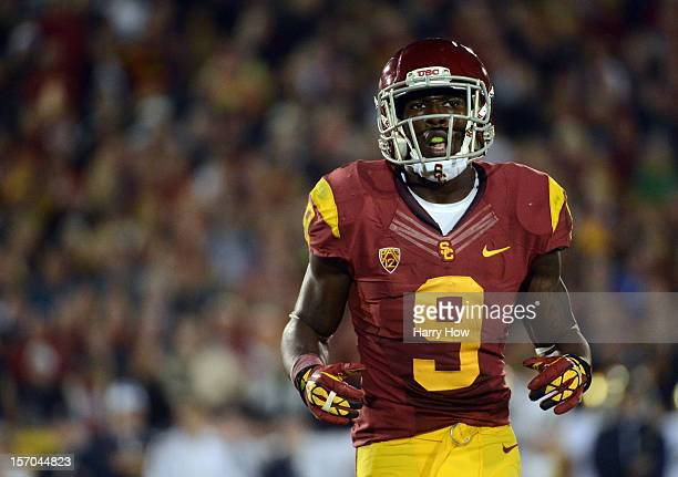 Marqise Lee of the USC Trojans comes to the line during a 22-13 loss to the Notre Dame Fighting Irish at Los Angeles Memorial Coliseum on November...