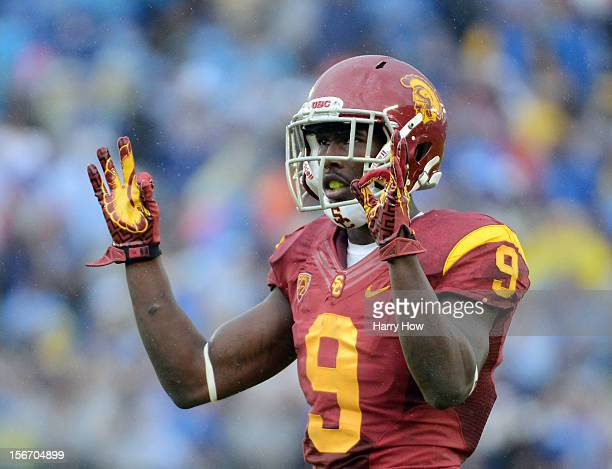 Marqise Lee of the USC Trojans reacts to the crowd during a 38-28 loss to the UCLA Bruins at Rose Bowl on November 17, 2012 in Pasadena, California.
