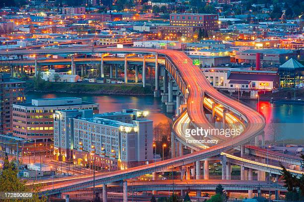 marquam bridge, portland, oregon - portland oregon stock pictures, royalty-free photos & images