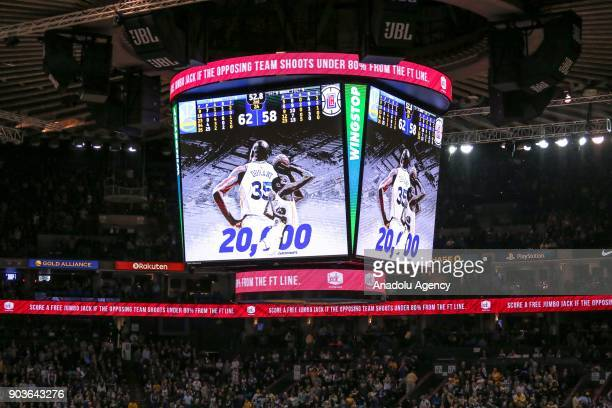 A marquee announces 20000 career points by Golden State Warriors forward Kevin Durant during the NBA basketball game between LA Clippers and Golden...