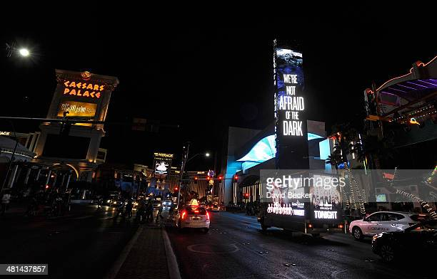 Marquee at The LINQ displays an Earth Hour message on March 29, 2014 in Las Vegas, Nevada.