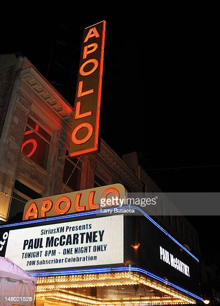 Marquee at the Paul McCartney plays World Famous Apollo Theater for first time celebrating 20 Million Sirius XM Subscribers at The Apollo Theater on...