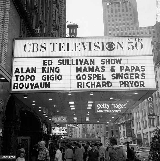 SHOW Marquee featuring the names of that days guests Alan King The Mamas and the Papas Topo Gigio Rouvaun and Richard Pryor Image dated June 11 1967