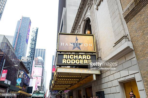 Marquee for the musical Hamilton at the Richard Rodgers theatre New York City New York July 7 2016