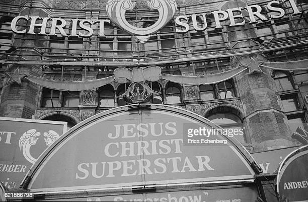 Marquee for the musical 'Jesus Christ Superstar' on the front of the Palace Theatre Cambridge Circus London 1977