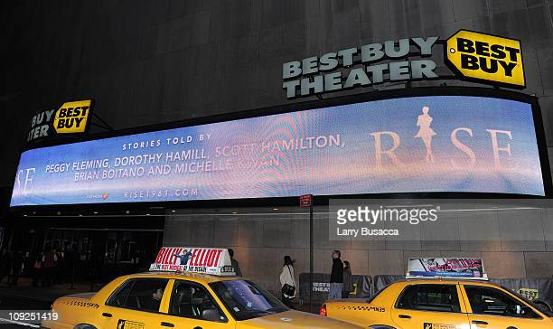 Marquee of Best Buy Theater outside the New York premiere Of RISE at Best Buy Theater on February 17 2011 in New York City