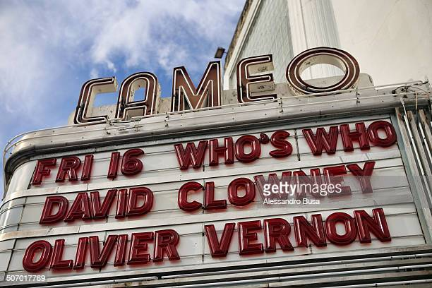 Marquee of the Cameo Theatre, one of the landmark nightclubs in South Beach. Built as a theater in 1936, it now anchors Washington Avenue's...
