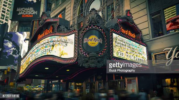 Marquee of the Hard Rock Cafe in the Paramount Building in Times Square, Manhattan, New York City