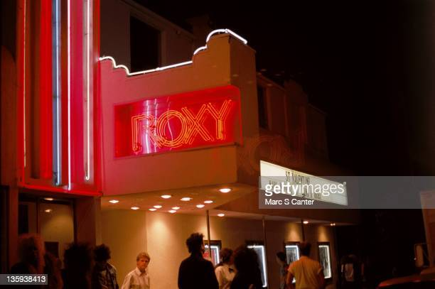 """Marquee of the venue The Roxy Theatre the first time the rock band """"Guns n' Roses"""" performed there on August 31, 1985 in Los Angeles, California."""