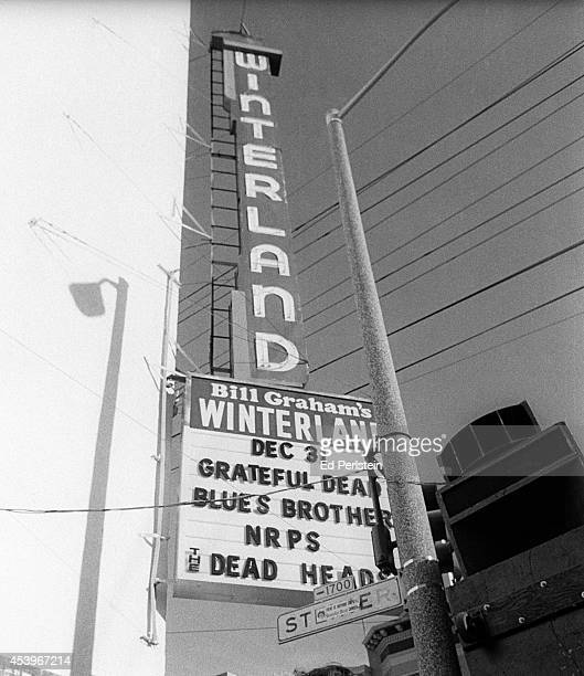 Marquee on New Year's Eve 1978 for the final shows at Winterland with the Grateful Dead and the Blues Brothers in San Francisco California
