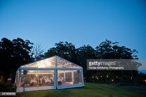 Marquee outdoors at twilight