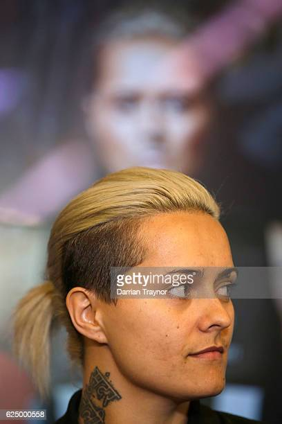 AFLW marquee player Moana Hope speaks to the media during a Collingwood Magpies AFL media session at the Holden Centre on November 22 2016 in...
