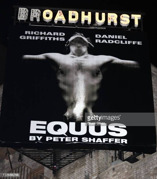 Marquee promoting Daniel Radcliffe's new play Equus on Broadway at The Broadhurst Theater on August 19 2008 in New York City