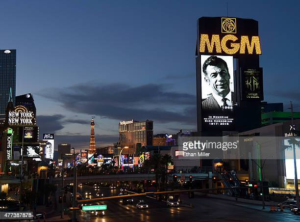 Marquees on the Las Vegas Strip including at MGM Grand Hotel Casino show video tributes to billionaire investor Kirk Kerkorian on June 16 2015 in Las...