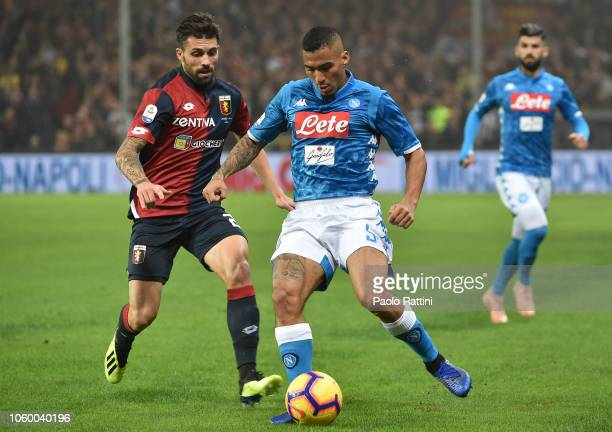 Marques Allan of Napoli and Daniel Bessa of Genoa compete for the ball during the Serie A match between Genoa CFC and SSC Napoli at Stadio Luigi...