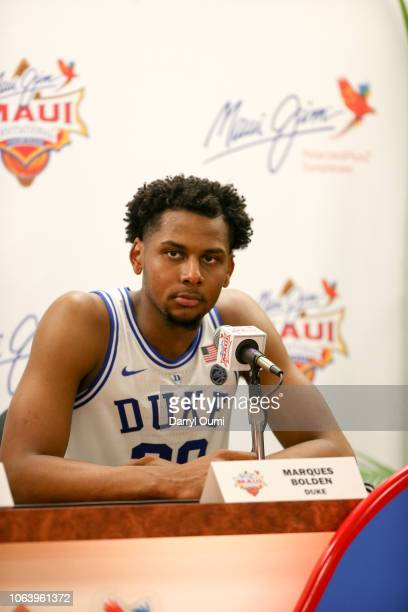 Marques Bolden of the Duke Blue Devils answered questions at the press conference following their game against the Auburn Tigers at the Lahaina Civic...