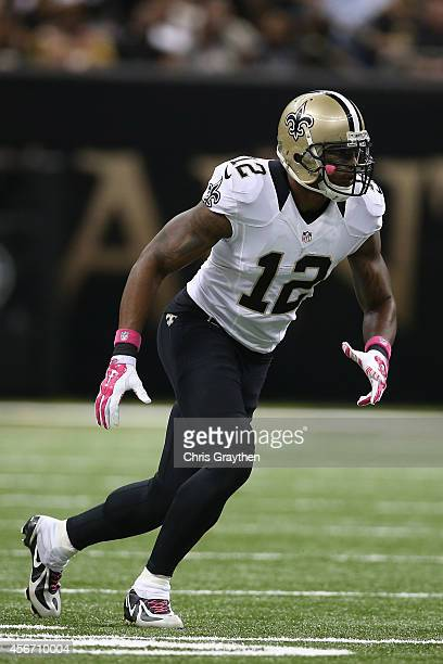 Marques Colston of the New Orleans Saints against the Tampa Bay Buccaneers at the MercedesBenz Superdome on October 5 2014 in New Orleans Louisiana