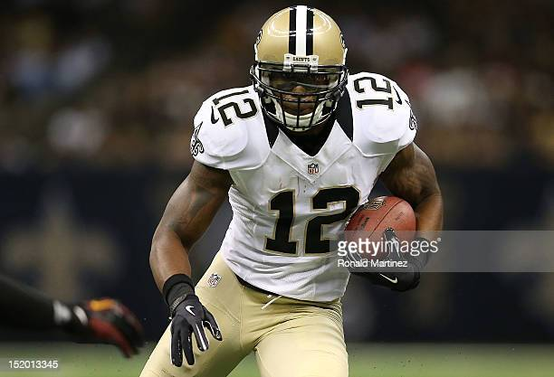 Marques Colston of the New Orleans Saints at MercedesBenz Superdome on September 9 2012 in New Orleans Louisiana