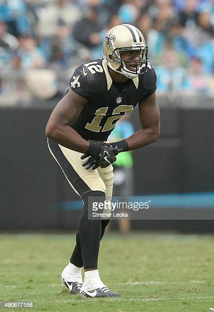 Marques Colston of the New Orleans Saints during their game at Bank of America Stadium on September 27 2015 in Charlotte North Carolina