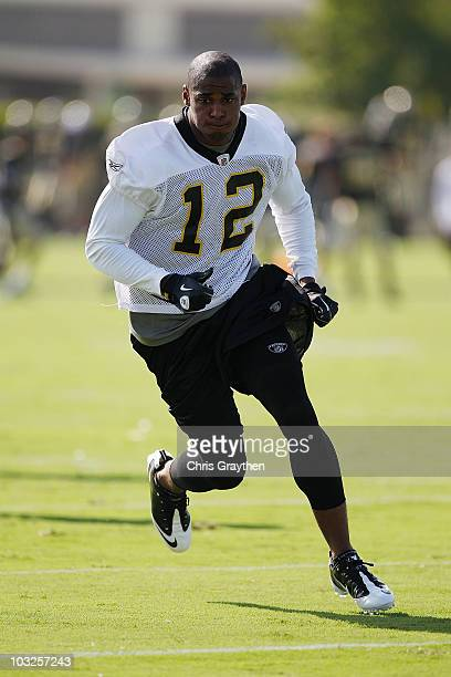 Marques Colston of the New Orleans Saints during training camp on July 30 2010 in Metairie Louisiana