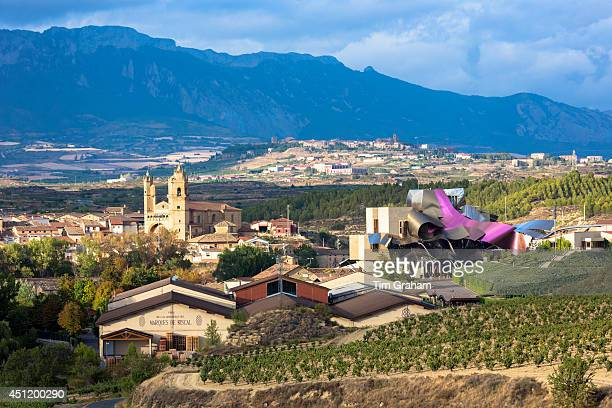 Marques de Riscal Bodega winery vines and Hotel Marques de Riscal designed by Frank O Gehry at Elciego in RiojaAlavesa Spain