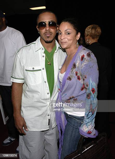 Marques Houston and Jasmine Guy during 6th Annual BET Awards Radio Remote Room Day 2 at Shrine Auditorium in Los Angeles California United States