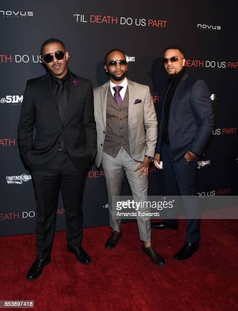 Marques Houston JBoog and Jerome Jones arrive at the premiere of Novus Content's Til Death Do Us Part at The Grove on September 25 2017 in Los...