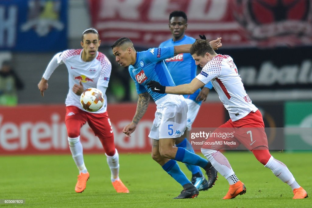 Marques loureiro Allan of Napoli and Marcel Sabitzer of RB Leipzig during UEFA Europa League Round of 32 match between RB Leipzig and Napoli at the Red Bull Arena on February 22, 2018 in Leipzig, Germany.