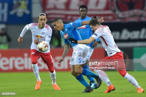 Marques loureiro Allan of Napoli and Marcel Sabitzer of RB Leipzig during UEFA Europa League Round of 32 match between RB Leipzig and Napoli at the...