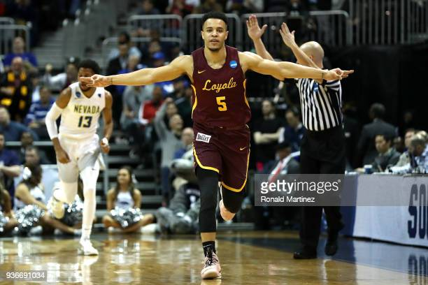 Marques Townes of the Loyola Ramblers reacts after a basket in the first half against the Nevada Wolf Pack during the 2018 NCAA Men's Basketball...