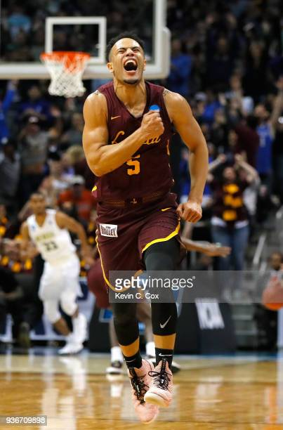 Marques Townes of the Loyola Ramblers reacts after making a late three point basket in the second half against the Nevada Wolf Pack during the 2018...