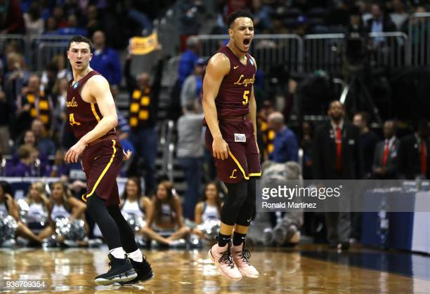 Marques Townes of the Loyola Ramblers reacts after making a three point basket late in the second half against the Nevada Wolf Pack during the 2018...