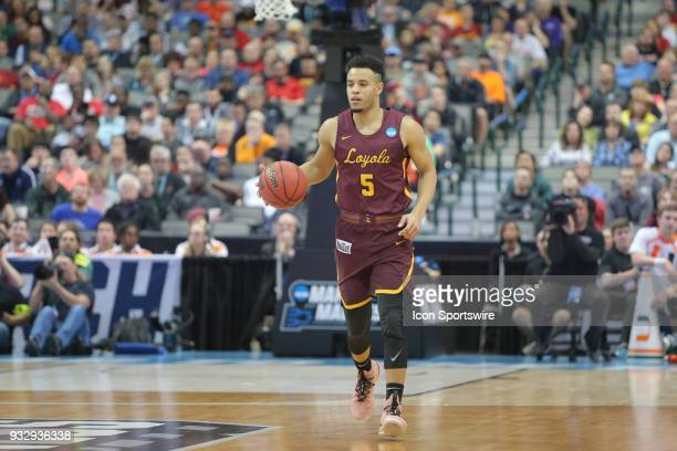 Marques Townes of the LoyolaChicago Ramblers brings the ball up the court during the NCAA Div I Men's Championship First Round basketball game...