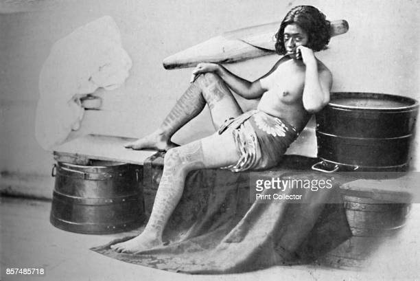 A Marquesa woman with the lower part of the legs fully tattooed 1902 From The Living Races of Mankind Vol I [Hutchinson Co London 1902] Artist Unknown