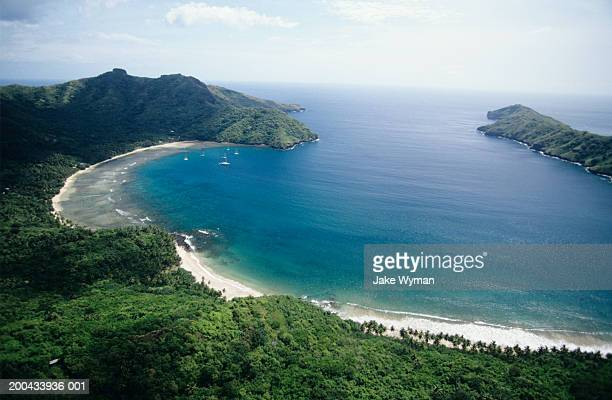 marquesas, nuku hiva, lagoon, elevated view - french polynesia stock pictures, royalty-free photos & images