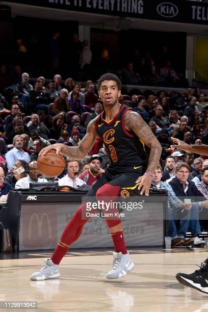 Marquese Chriss of the Cleveland Cavaliers handles the ball during the game against the Toronto Raptors on March 11 2019 at Quicken Loans Arena in...