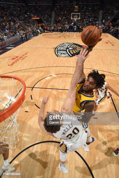 Marquese Chriss of the Golden State Warriors drives to the basket against the New Orleans Pelicans on November 17 2019 at the Smoothie King Center in...