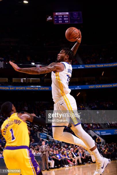 Marquese Chriss of the Golden State Warriors dunks the ball against the Los Angeles Lakers during a preseason game on October 18 2019 at Chase Center...