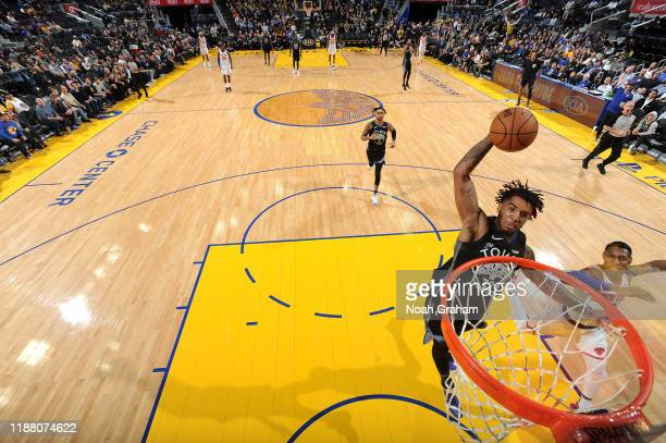 Marquese Chriss of the Golden State Warriors dunks the ball against the New York Knicks on December 11 2019 at Chase Center in San Francisco...