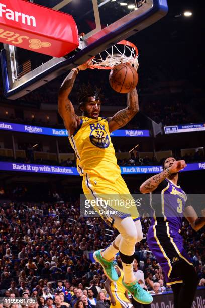 Marquese Chriss of the Golden State Warriors dunks the ball against the Los Angeles Lakers on February 8 2020 at Chase Center in San Francisco...