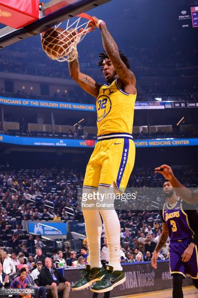 Marquese Chriss of the Golden State Warriors dunks the ball against the Los Angeles Lakers on February 27 2020 at Chase Center in San Francisco...