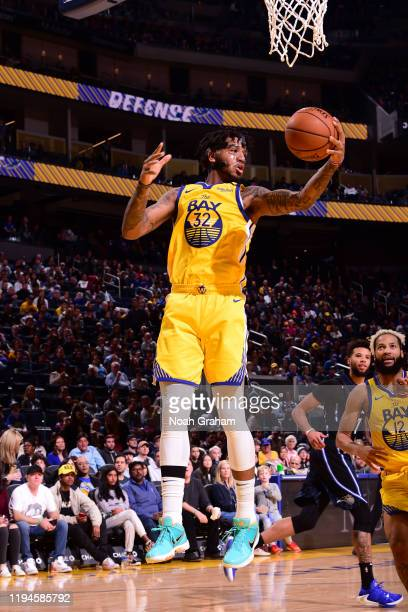 Marquese Chriss of the Golden State Warriors grabs the rebound against the Orlando Magic on January 18 2020 at Chase Center in San Francisco...